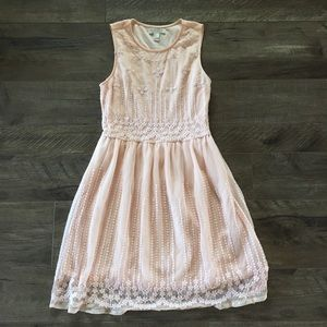 Forever 21 Blush Lace Fit and Flare Dress